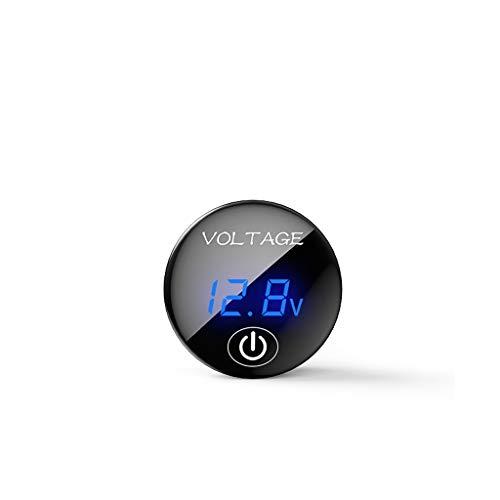 Siwetg DC 5 V - 48 V Panel LED Digital Spannungsmesser, Voltmeter, mit Digitalanzeige und Ein/Aus-Berührungsschalter blau