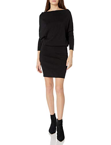 Cable Stitch Women's One-Shoulder Sweater Dress Small Black