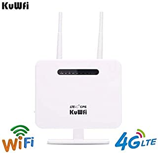 KuWFi 4G CPE Router,300Mbps Unlocked 4G LTE CPE Wireless Router Antenna 3G 4G AP WiFi Router WFi Hotspot with SIM Card Solt Support use Optus/Telstra/Virgin Mobile/Vodafone sim Card in Australia