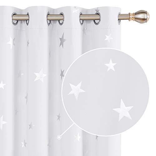 Deconovo Cortinas Termicas Aislantes Dormitorio Moderno Decoración para Ventanas Habitacion Moderna Infantiles Estrella Plateada 140 x 175 cm Gris Blanco