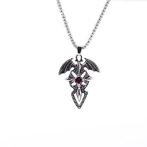 ZXLNB Chunky Wings of Evil Collier Rouge Cristal Croix Épée Pendentif Collier Femme Collier Homme Bijoux De Mode Accessoires