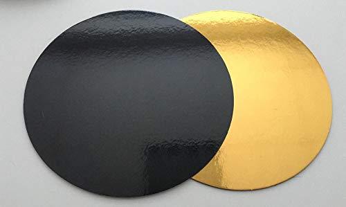 10 Stk. Cake Board Ø 30 cm Cake Drum 3 MM beschichtet Kuchenplatte Tortenplatte Cakeboard Tortenunterlage Fondant GOLD/SCHWARZ RUND