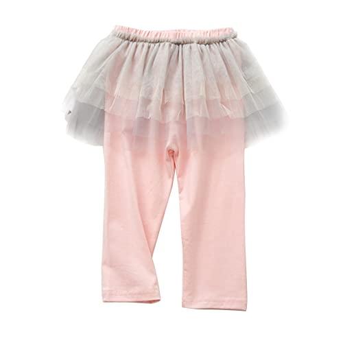 inlzdz Leggings con Falda Pantalones Largos para Niña Leggins Mallas Largos B-Rosa 7-8 años