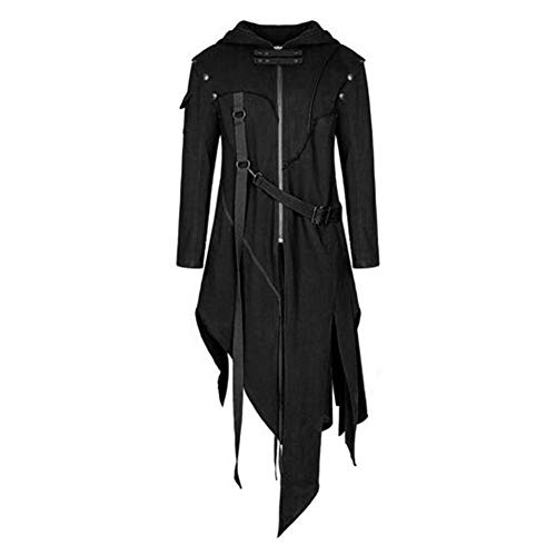 Vertvie Herren Mantel Steampunk Herrenjacke Frackjacke Gothic Vintage Uniform Kostüm Praty Cosplay Outwear Viktorianischen Langer Coat festlich Bekleidung (EU M/Tag L, Schwarz)
