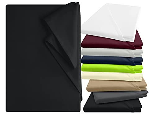 npluseins Bettlaken - 100prozent Baumwolle - in 9 Farben - in 3 verschiedenen Größen - Haushaltstuch ohne Spanngummi, ca. 150 x 250 cm, schwarz