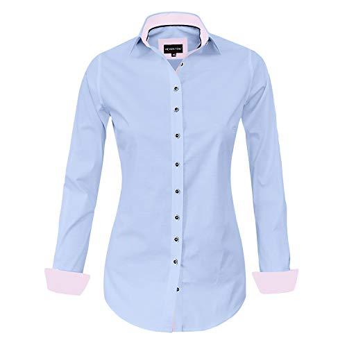 HEVENTON Bluse Damen Langarm in Blau Oxford - Elegant Hemdbluse - Größe 36 bis 44 - elegant und hochwertig 1199 Farbe Blau, Größe 42