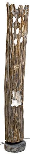 Formano antike Holz-Lampe Bodenlampe Bodenleuchte Stehlampe Stehleuchte Stimmungslampe Harmonie Romantik rustikal grau braun 118cm