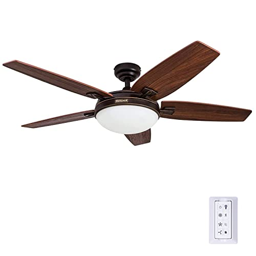 Honeywell Carmel 48-Inch Ceiling Fan with Integrated Light Kit and Remote Control, Five...