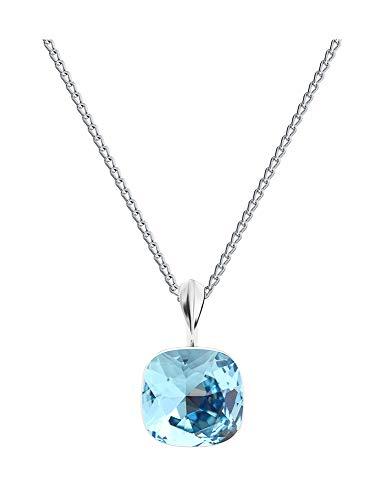 **Beforya Paris** Square White Opal - Echt Silber 925 - Tolle Halskette - Silber 925 - Schön Damen Halskette mit Silberkette von Swarovski Elements (Aquamarine)