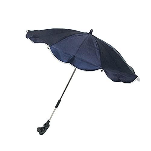 Sombrilla acoplable 100% poliéster para sillas de niño, de color azul marino, de 70 x 76 x 76 cm. Parasol con enganche para carritos o sillas plegables, para la protección solar de los mas pequeños.