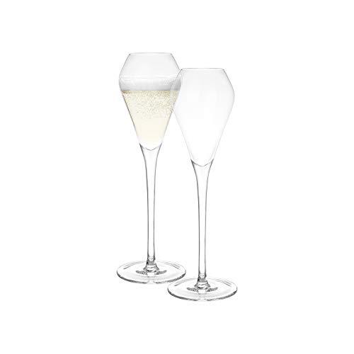 Katie Jayne Juego de 4 copas de champán hechas a mano de tulipán