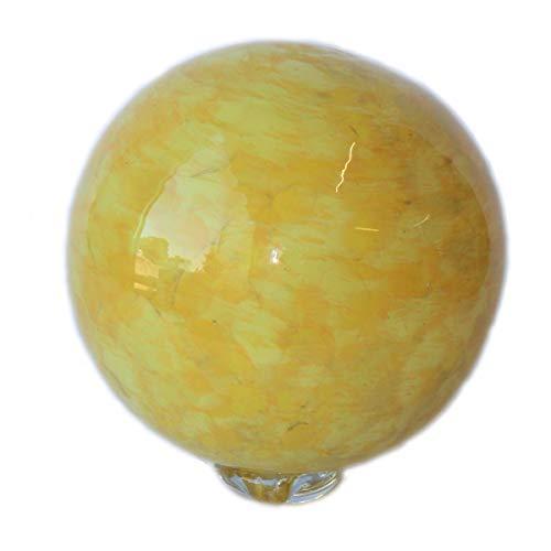 Bornhöft Teichkugel Glaskugel Gartendeko Durchmesser 12cm Gartendekoration Handarbeit Dekoration Schwimmkugel Gelb-Orange