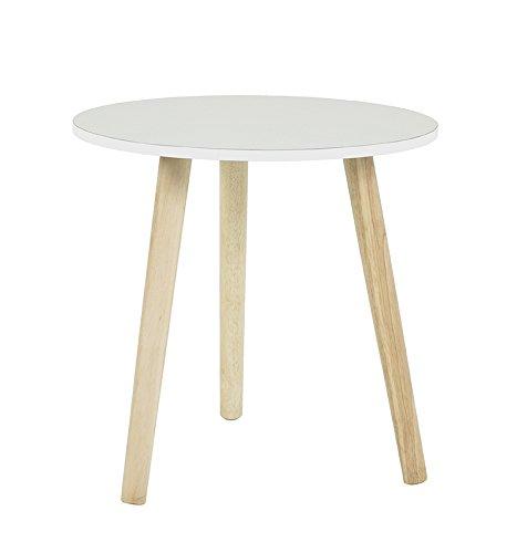 Haku Moebel table d'appoint, Bois, Nature-Blanc, 40 x 40 x 40 cm