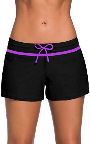 Lixada Badeshorts Kurze Badehose UV Schutz Shorts, Verstellbare Badehose mit Kordelzug für Damen mit kurzem Futter Design Damen Badebekleidungs-Boardshorts Schnell Trocknendes Schwimmshorts