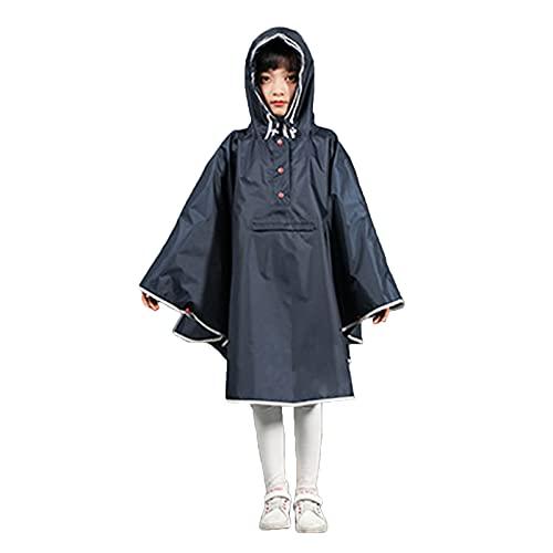 wetry Kinder Regenponcho Wiederverwendbar Leichte Wasserdicht Regenmantel Jungen Mädchen Regenjacke Regencape mit Kapuze Dunkelblau/L