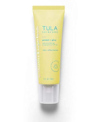 TULA Probiotic Skin Care Protect + Glow Daily Sunscreen Gel Broad Spectrum SPF 30 | Skincare-First, Non-Greasy, Non-Comedogenic & Reef-Safe with Pollution & Blue Light Protection | 1.7 fl. oz.