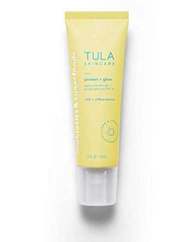 TULA Skin Care Protect + Glow Daily Sunscreen Gel Broad Spectrum SPF 30 | Skincare-First, Non-Greasy, Non-Comedogenic & Reef-Safe with Pollution & Blue Light Protection | 1.7 fl. oz.