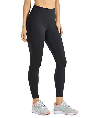 "CRZ YOGA Women's Hugged Feeling Training Leggings 25 Inches - High Waist Compression Pants Tummy Control Workout Leggings Black 25"" Medium"