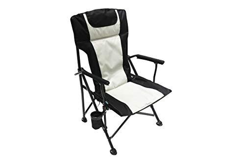 Homecall - Silla de camping plegable acolchada con respaldo alto (negro/crema)