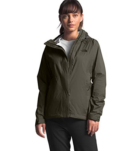 Womens Waterproof Hooded Taupe Green Rain Jacket