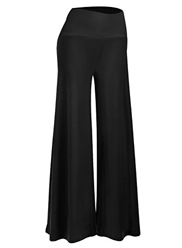 Arolina Women's Stretchy Wide Leg Palazzo Lounge Pants (L, Black)