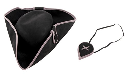 Tricorn Pirate Hat with Eye Patch for Halloween Costume Party, Adult