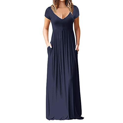 Damen Lässige Kleidung Ärmel V-Ausschnitt Solide Maxikleid Langes Kleid Damen Elegant Kleider Damen