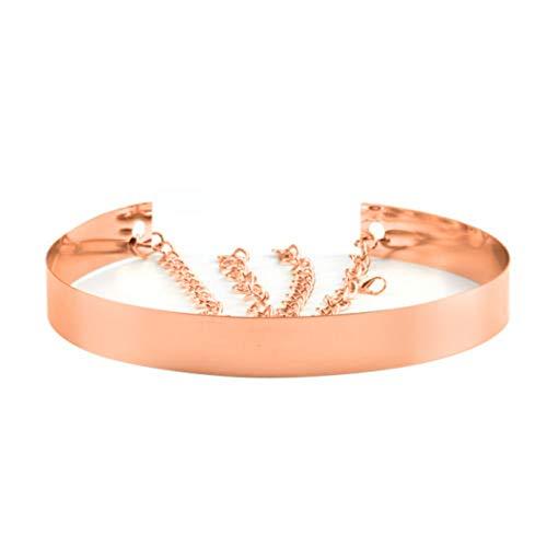 Cinturón de cintura de metal para mujer Espejo ancho Oro Dorado Plata Plateado Cadena llena Cadenas de pretina (2cm, Oro rosa)