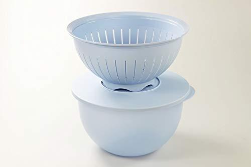 Tupperware Junge Welle Schüssel 4,3 L + Sieb hellblau Servieren Schale FBA 36706