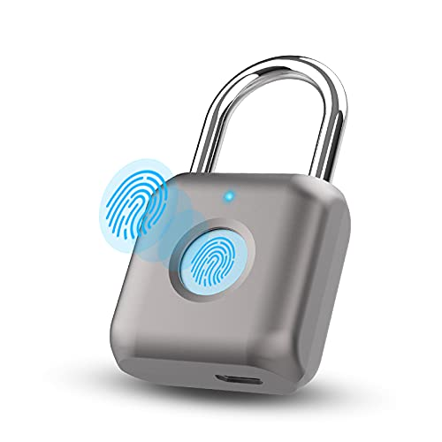 Pothunder Fingerprint Padlock, Smart Padlock, Locker Lock, Biometric Metal Keyless Thumbprint Lock, Waterproof, USB Rechargeable, for Gym Locker, School Locker, Luggage, Backpack, Suitcase(Gray)
