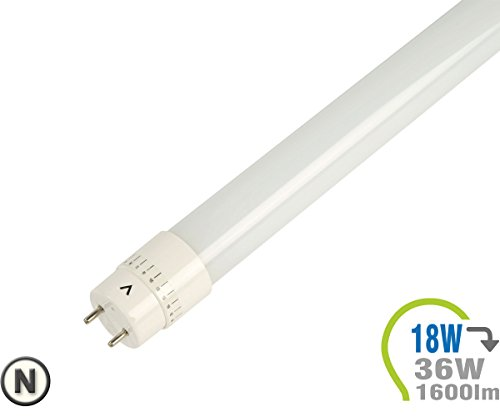V1278 T8 LED Röhre 18W 120cm Plastic Weiß 6000 Kelvin Endkappen inklusive Starter V-TAC