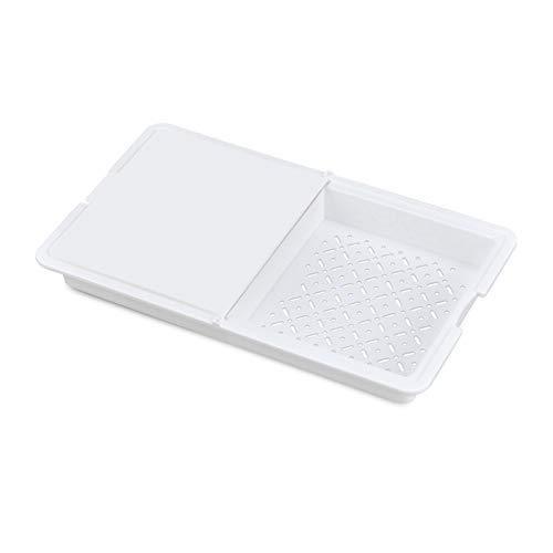 Yemiany tabla de cortar cocina,tabla de cortar plegable,Tabla de corte multifuncional 3 en 1 sobre el fregadero Tabla de corte extraíble de doble cara para la cocina Camping Etc(Blanco, 32.5x20.5CM)