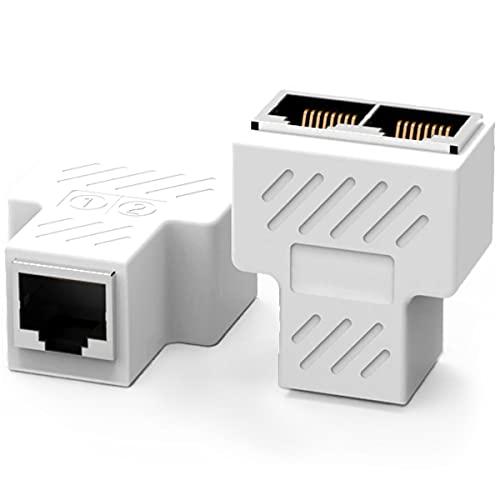 1 par Nueva RJ45 RJ45 Hembra Acoplador 2 en 1 RJ45 1 Hembra a 2 Hembra Adaptador para Ethernet Cat 5 / Cat 6 LAN Extensor de Cable Ethernet Surf en línea al Mismo Tiempo Conector de Red (Blanco)