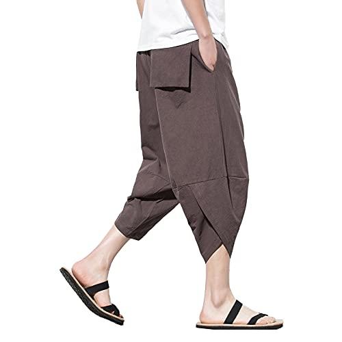 Pantalones de algodón para Hombre Pantalones Anchos de Pierna Ancha de Yoga de Playa Holgados y Ligeros Pantalones de Hip Hop M-5XL,Marrón,4XL