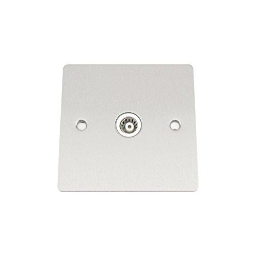 A5 TVS1GSFWH Koax-Steckdose für Antennenkabel, 1-Gang, Einzeldose, Flacher weißer Einsatz, matt verchromte Blende
