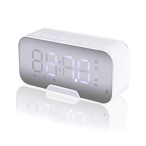 Altavoz Despertador Bluetooth, Domybest Reloj Despertador Digital con Altavoz Bluetooth Inalámbrico, Pantalla LED Recargable USB, Radio FM Hi-Fi Sonido estéreo, Brillo Ajustable (Blanco)