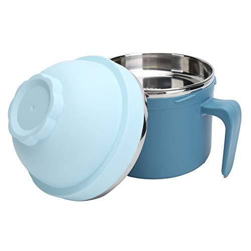 Xirfuni Tazones para Fideos instantáneos, con Tapa y asa Recipiente para Fideos Anti escaldado, Verduras multifuncionales para Sopa Fideos de arroz al Vapor(Blue)