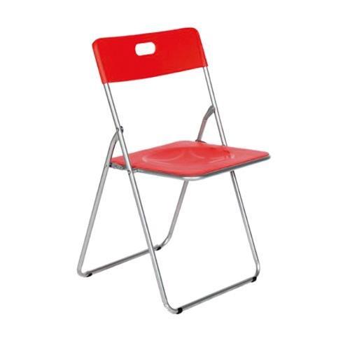 Easy roja Silla plegable metal asiento PP,para cocina, comedor, balcón, terraza interior, habitaci�