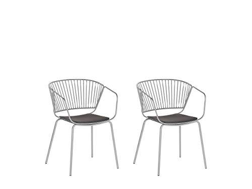 Beliani Conjunto de 2 sillas de Metal Plateado Rigby