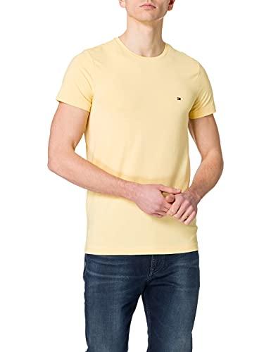 Tommy Hilfiger Stretch Slim Fit Tee-MW0MW10800 Camiseta, Amarillo Delicado, S para Hombre