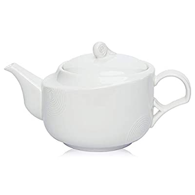 Hompiks Teapot Porcelain Tea Pot White Tea Pots for Tea Party Decorative Loose Tea 22 oz