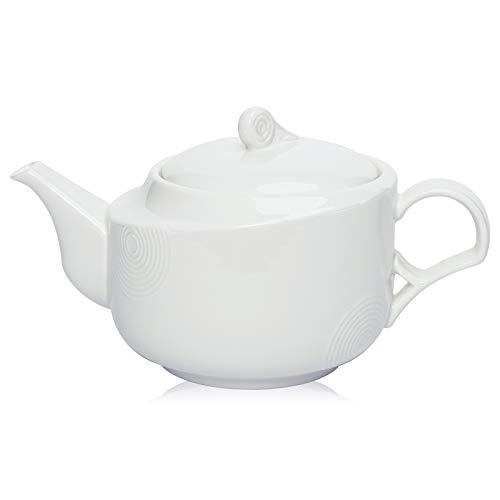Hompiks Teapot Porcelain Tea Pot White Tea Pots for Tea Party Decorative 22 oz