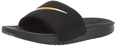 Nike Boys' Kawa Slide (GS/PS) Sandal, Black/Metallic Gold, 12C Regular US Little Kid