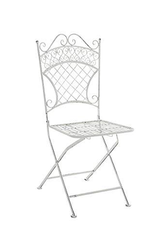 CLP Chaise de Jardin Pliante Adelar - Chaise de Balcon en Fer Forgé - Meuble de Terrasse et pour Usage Extérieur - Hauteur Assise 47 cm - Couleur Blanc Antique