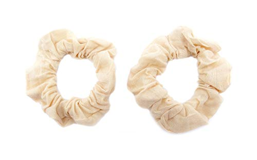 onweerstaanbaar1 Pak van 2 100% Katoen Stof Grote Stretchy Scrunchie In 7 cm Naakt