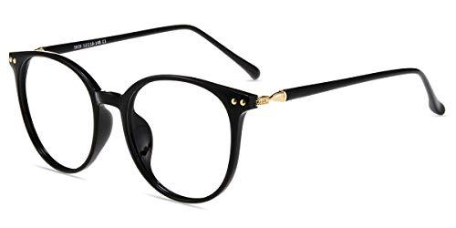 Zinff S939 Klassische Klar Beinstein Schwarz Brille Damen Brille Retro Vintage Rund Blaulichtfilter Brille PC Brille Rund Brille Herren Brille Anti Blaulicht UV-Schutz Linse …