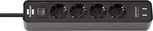 Brennenstuhl Ecolor regleta enchufes con 4 tomas de corriente y función de carga USB (2 puertos de Carga USB, interruptor, 1.5 m cable) negro