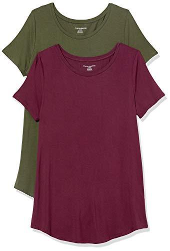 Amazon Essentials 2-Pack Short-Sleeve Scoopneck Tunic Fashion-t-Shirts, Burgundy/Dark Olive, US M (EU M - L)