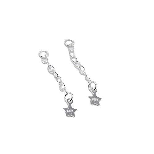 12 extensiones de cadena de plata de ley 925 con cadena de pentagrama, cadenas extensibles de collar y pulseras