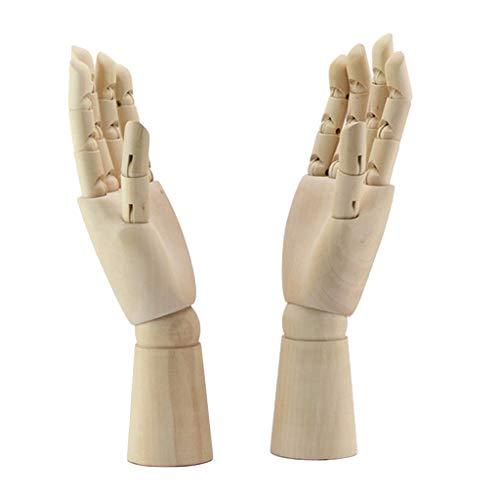 Homyl 1 Par Maniquí de Mano Derecha/Izquierda Realista de Madera Dedos Flexibles Nudillos Articulados Soporte de Joyería Reloj
